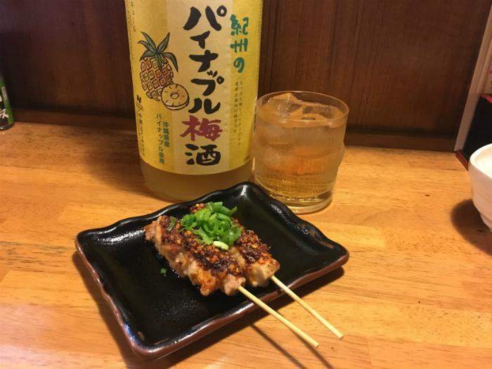 食べるラー油もも串 パイン梅酒